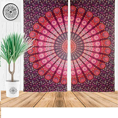 Curtain Panels Hanging (Indian Cotton Peacock Mandala Door Window Cover Curtain Hanging Portiere Drape Curtains Drapes Valances Mandala Curtain Christmas Gift)