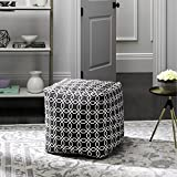 Safavieh Home Collection Adeline Geo Black and White Pouf