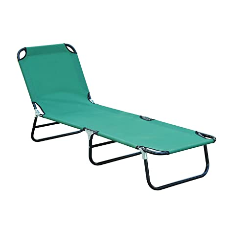 Bon Outsunny Deluxe Folding Adjustable Sun Lounger / Camping Cot, Green