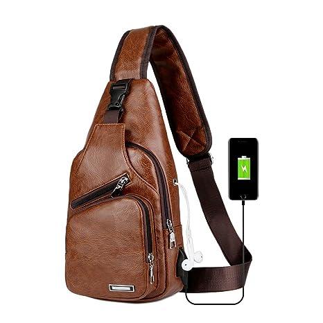 044b28fe3d79 Sling Bag Men Chest Shoulder Backpack Crossbody Bag with USB Charging Port  for Women Hiking Cycling Camping Daypacks (brown-3)