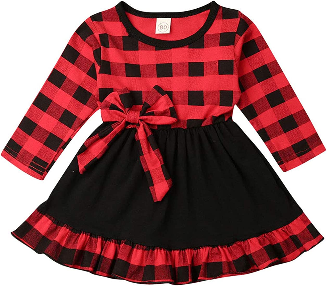Toddler Baby Girl Plaid Christmas Dress Long Sleeve Ruffle Plaid Dress Xmas Clothes Fall Winter Outfits Party Dress