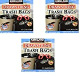 Kirkland Signature Drawstring Trash Bags - 33 Gallon - Xl Size - (90 count) (3 pack - 90 Count)