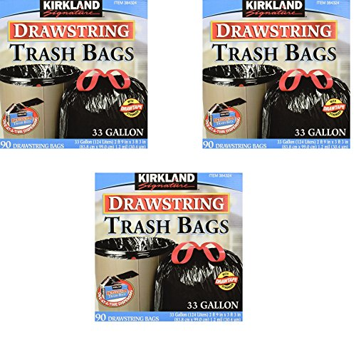 Kirkland Signature Drawstring Trash Bags - 33 Gallon - Xl Size - (90 count) (3 pack - 90 Count) by Kirkland Signature