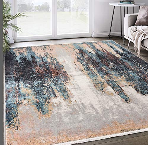 Contemporary Teal Beige Skyline 7'9'x10'2' Area Rug