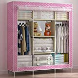 Generic Super Large Size Family Reinforced Steel Fabric Clothes Wardrobe Closet Cabinet (Pink with Dots)