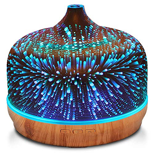 - 500ml Essential Oil Diffuser 3D Glass Aromatherapy Ultrasonic Humidifier - 7 Color Changing LEDs, Waterless Auto-Off,Timer Setting, BPA Free for Home Hotel Yoga SPA Gift
