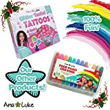 Face Paint Stencils Kit (104 Multipack) No Mess Foolproof Body Art Designs for Kids, Girls, Boys includes snowflake, star, christmas tree,  by Ana & Luke. Best Large Set for Birthday Parties, Events