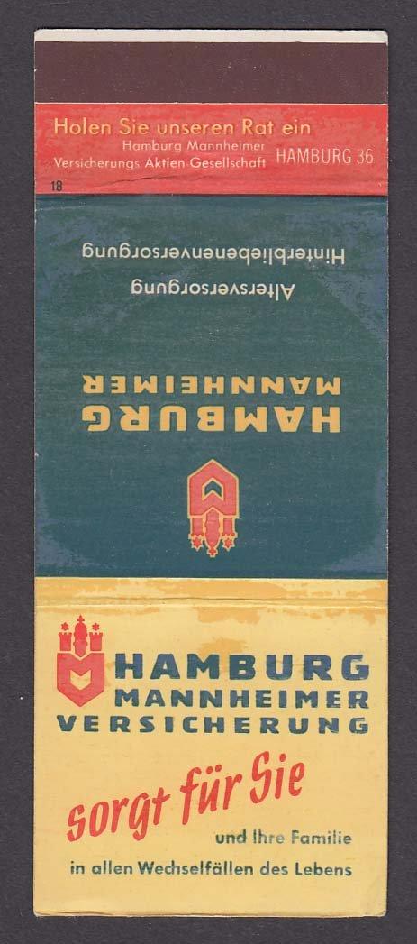 Hamburg Mannheimer Versicherung Insurance Matchcover At Amazons