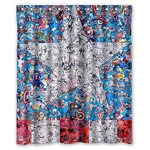 Fashionable bathroom collection custom captain america shower curtain bath decor - Captain america curtains ...