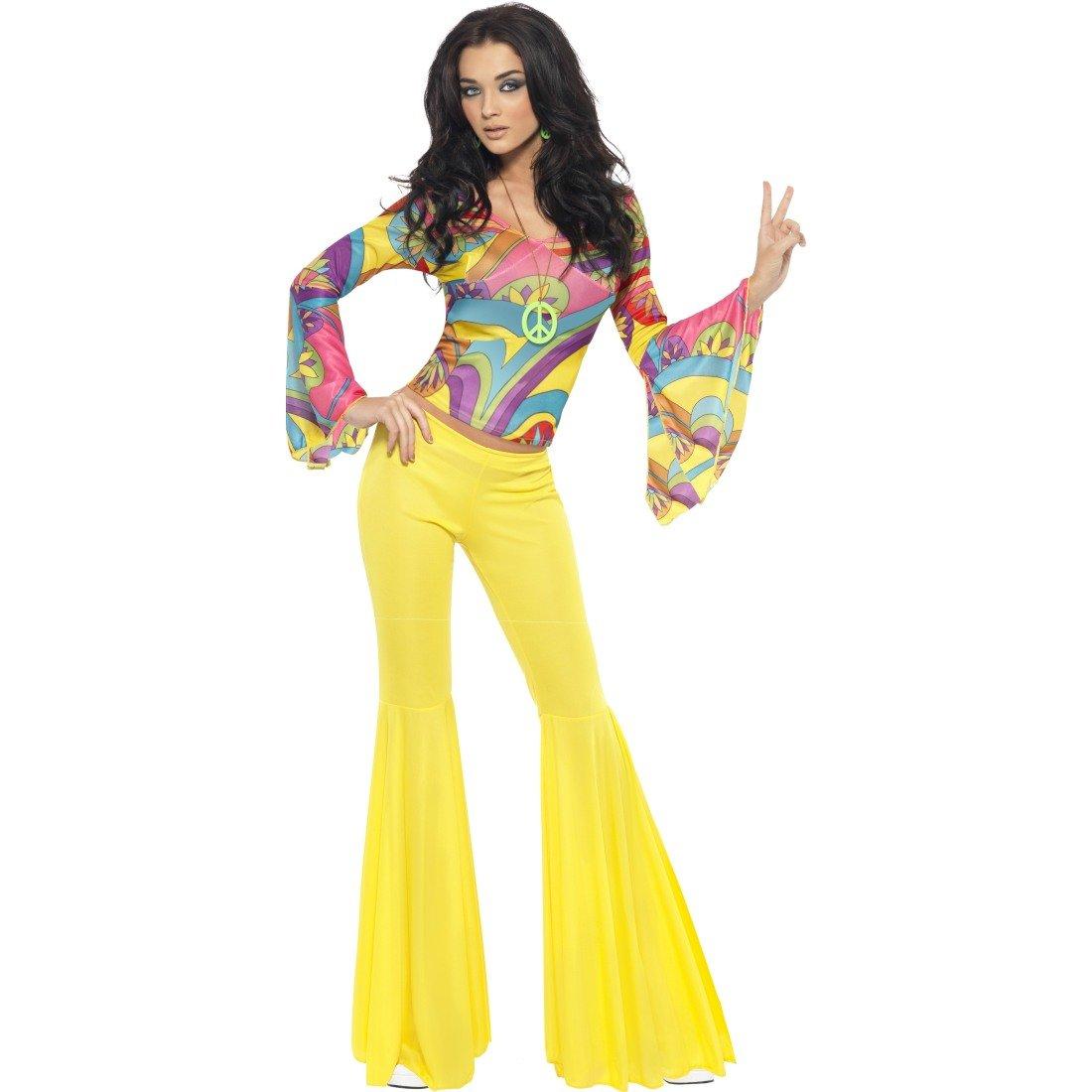 Retro Party Faschingskostüm 70er Jahre Damenkostüm Flower Power Damen Outfit