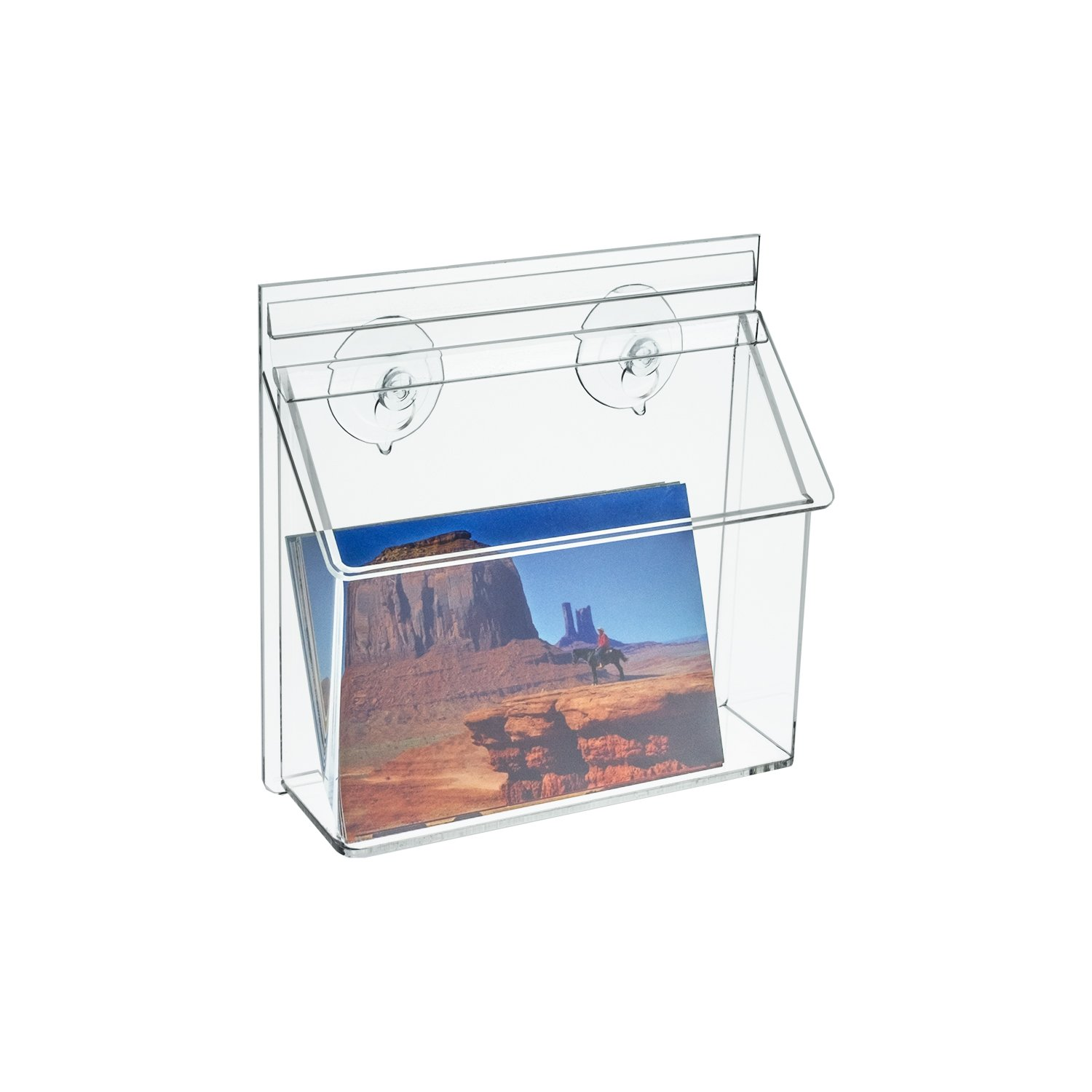 Source One Deluxe Clear Acrylic Outdoor Postcard Holder with Suction Cups (1 Pack)