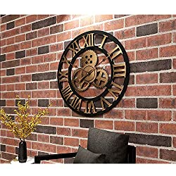 CAO-Decor Wall Clock 3D Retro Rustic Decorative Luxury Art Big Gear Wooden Vintage Large Handmade Oversized Wall Clock for Gift, 45Cm/23Inch