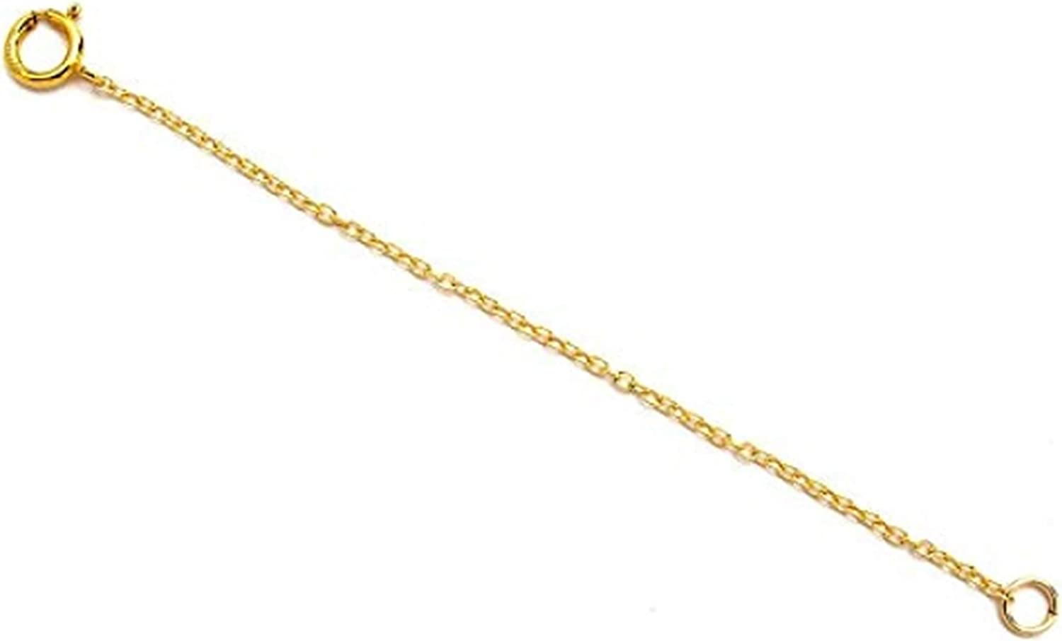 """14K Necklace Extender Chain, 2.25"""" Removable and Adjustable - Extra Links to Extend Your Necklace- 14K Yellow Safety Chain 2.25 in Necklace Extender- Collar Extensor Cadena"""