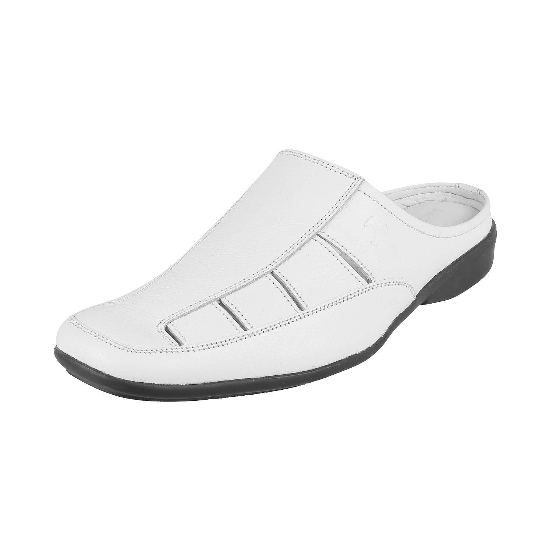 Mochi Men's White Leather Mules-8 UK