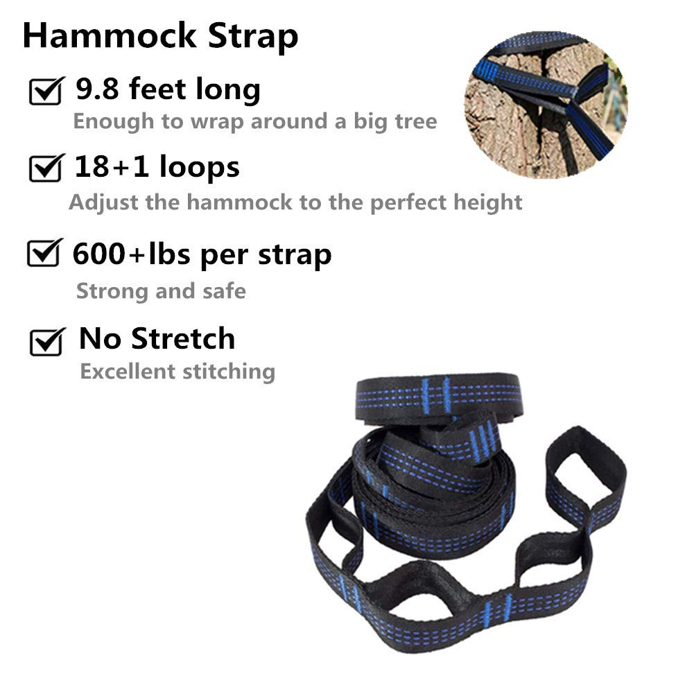 yodo Double Camping Hammock Portable Lightweight Parachute Nylon Hammock with Tree Straps for Outdoor Backpacking,Hiking,Travel,Beach,Backyard