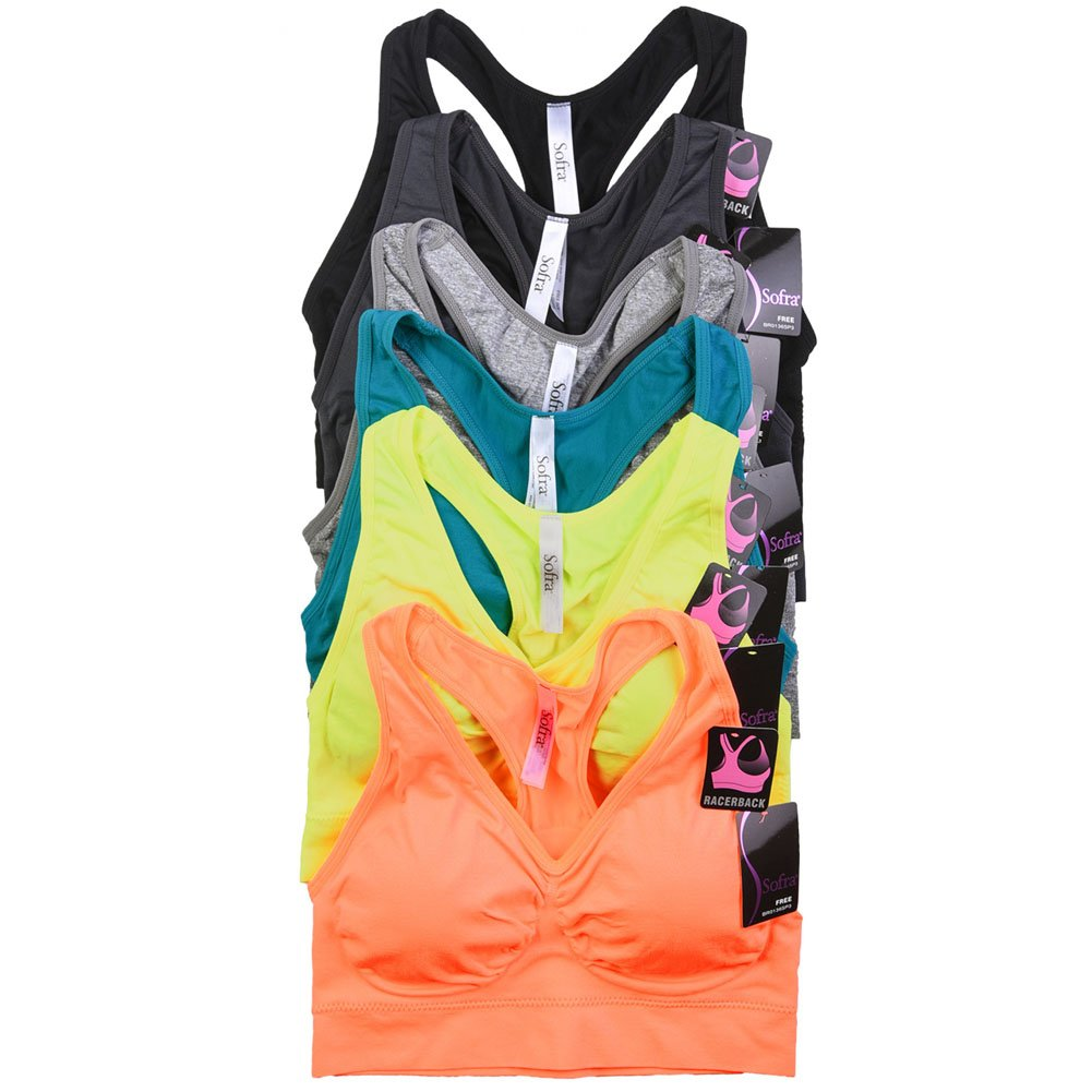 Sofra Women's 6 Pack Of Seamless Padded Sports Bras-Neon Future