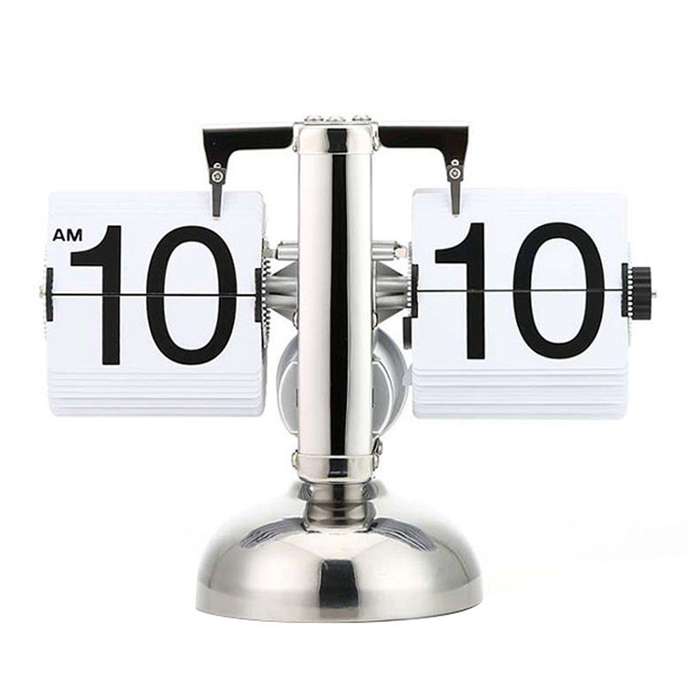 Asvert Desk Shelf Clocks Auto Flip Retro Digital Internal Gear Operated Table Mantel Clocks Single Metal Stand white