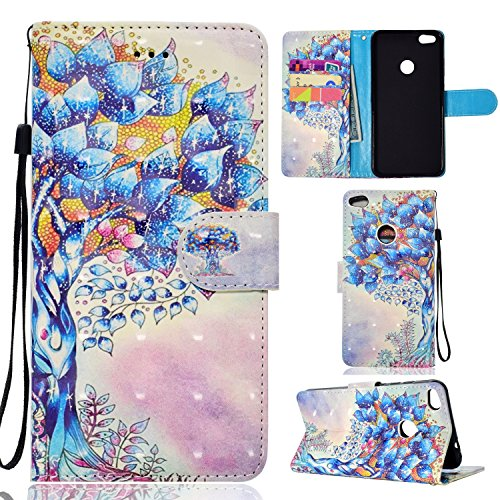 Price comparison product image Huawei P8 Lite 2017 Case, Honor 8 Lite Case, Ranyi [Full 3D Painting Print] [Flip Magnetic Wallet] [Glitter & Shiny] [ID&Card Holder] Luxury PU Leather Wallet Protective Kickstand Case (life tree)