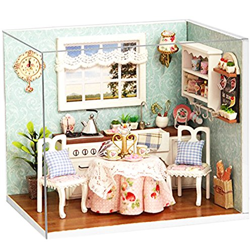 Ogrmar Wooden Dollhouse Miniatures DIY House Kit With Cover and Led Light-Happiness Kitchen ()