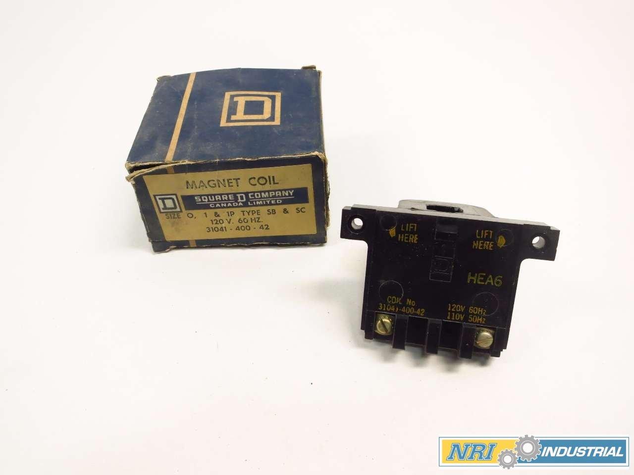NEW SQUARE D 31041-400-42 MAGNET COIL 120V-AC SIZE 0 1 & 1P D520913