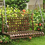 International Caravan 52561-OG-165263-O-852752 Iron Outdoor Porch Swing, 4′, Hammered Bronze