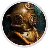 Pixels Round Beach Towel With Tassels featuring ''Steampunk - Diving - The Diving Helmet'' by Mike Savad