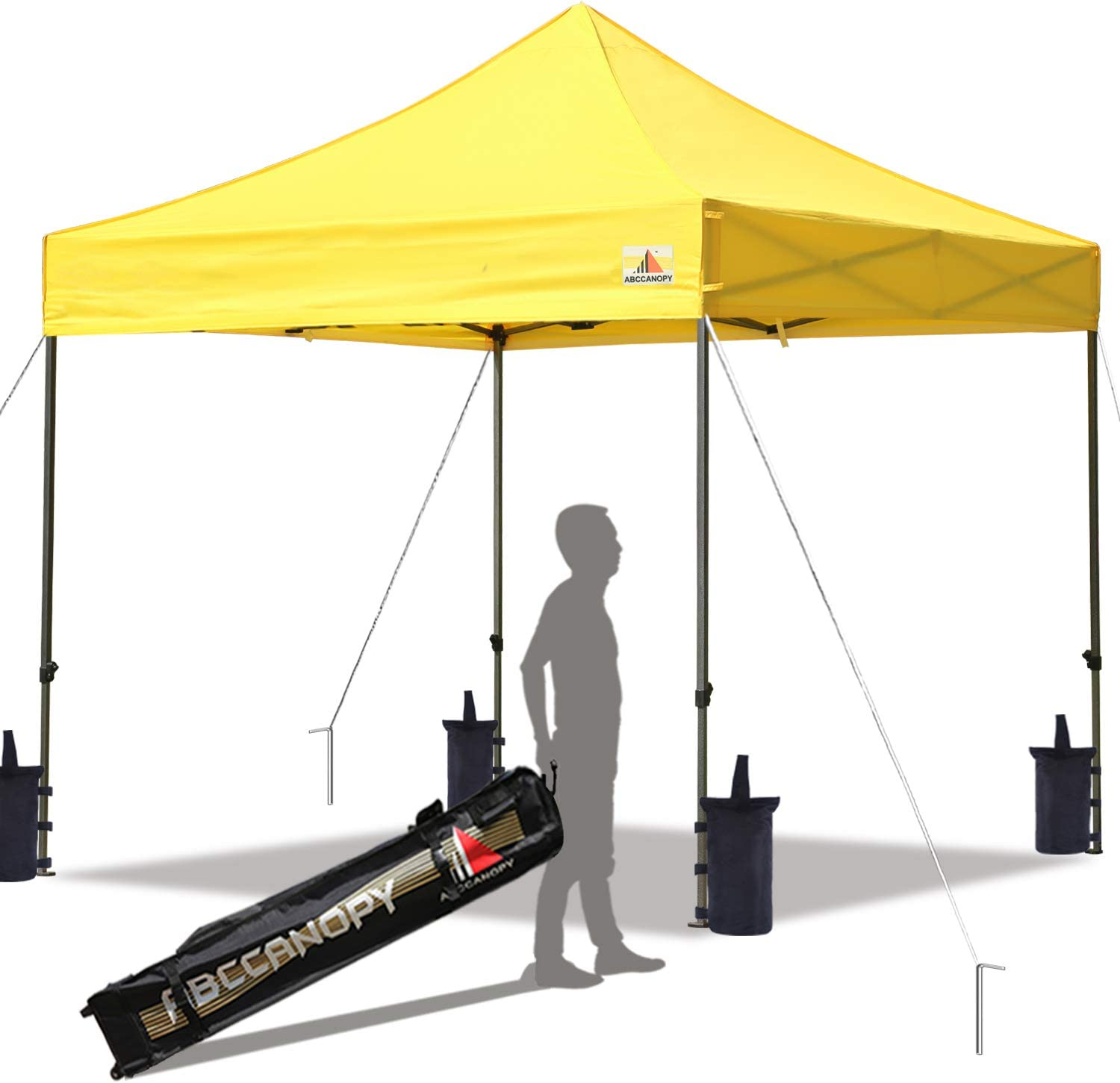 ABCCANOPY Pop up Canopy Tent Commercial Instant Shelter with Wheeled Carry Bag, 10×10 FT Yellow