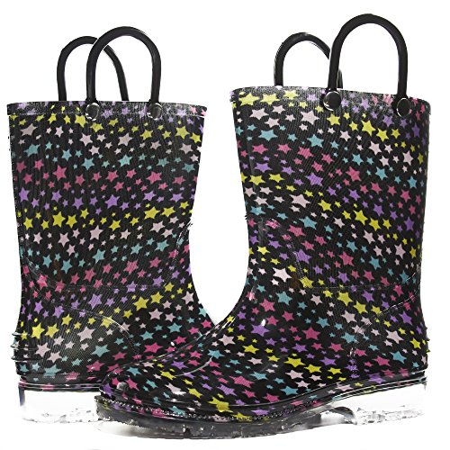 Sara Z Toddler Girls Printed High Cut Puddle Proof Rain Boots Stars Multicolor/Black Size 11/12