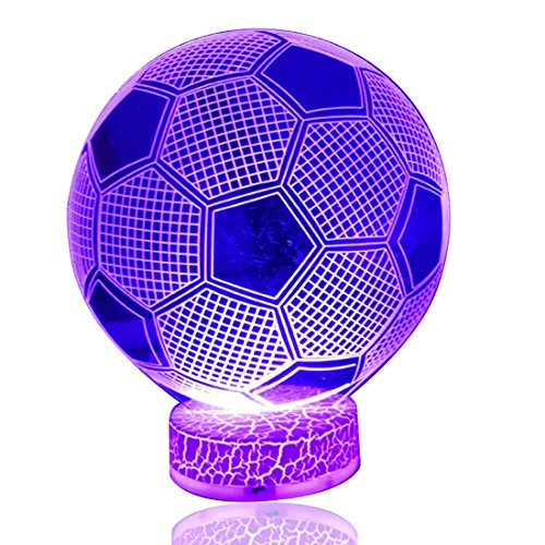 DB.WOR 3D Football Lamp Night Light Colorful 7 Color Changing with Multicolored USB Powered LED Light Optical Illusion Touch Table Desk Lamp Birthday Festival Gift for Bays Kids Girlfirend
