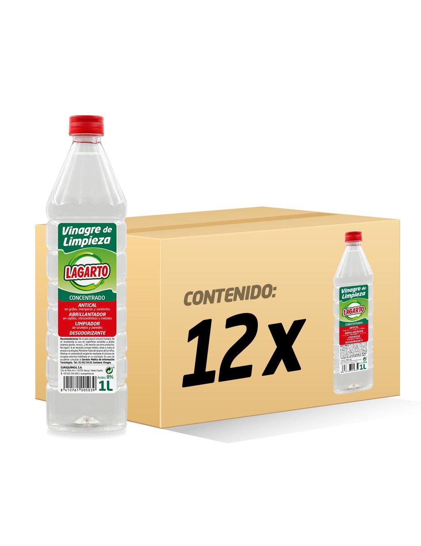 Lagarto Limpiahogar Concentrado - Vinagre de Limpieza - Paquete de 12 x 1000 ml - Total: 12000 ml