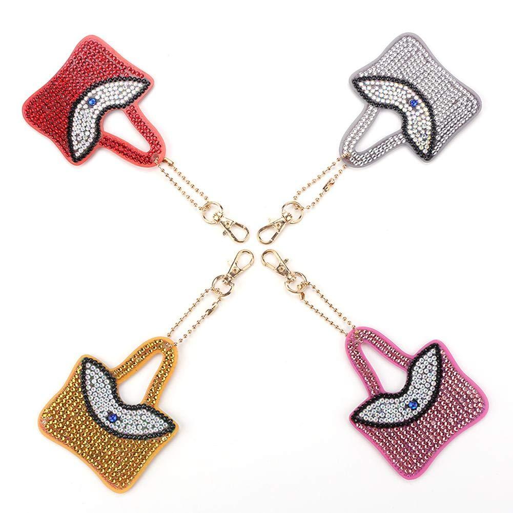Takeashi 4pcs DIY Full Drill Diamond Painting Key Chain Kits for Adults and Kids-Handbag