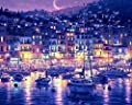 Harbor Seaport Bay City Night 16x20 inches - Digital Oil Painting Canvas Wall Art Artwork Landscape Paintings for Home Living Room Office White Christmas Decor Decorations Gifts