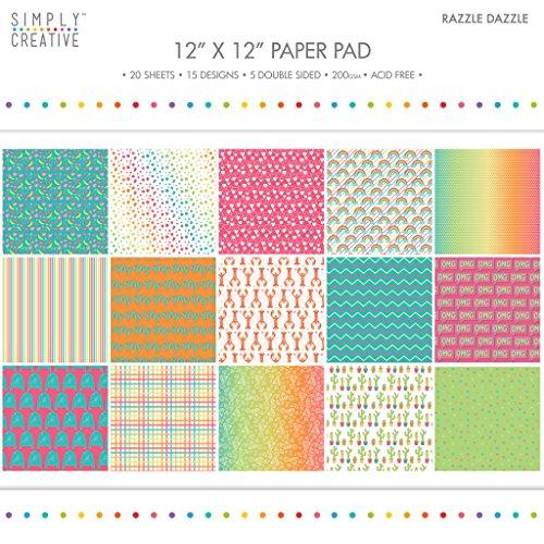 """Premium Craft Paperstock Simply Creative 12x12"""" Razzle Dazzle Scrapbook Paper"""
