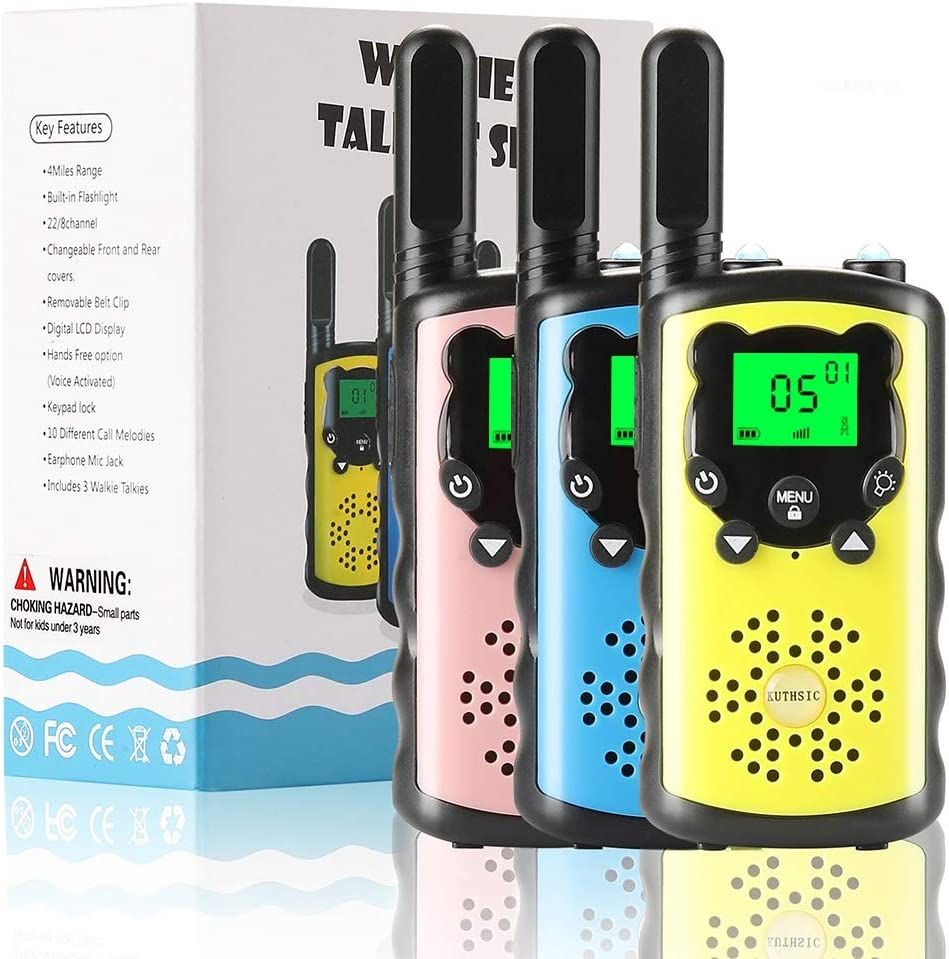 KUTHISIC Gift for Boys, Toys for 3-12 Year Old Boys Girls 3 Mile Long Range Kids Walkie Talkies Boys Toys Age 5 6 7 8 for Camping and Outdoor Activities(3Pack-BluePink Yellow)
