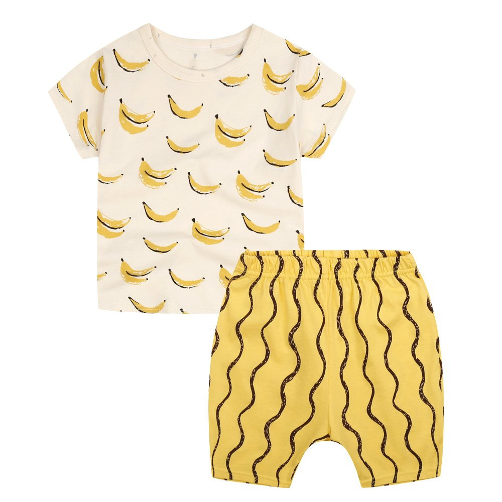 Sanlutoz Toddler Boys Clothes Boys' Banana T Shirt And Cotton Short Set