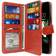 NextKin Case For LG K7 Tribute 5 LS675 MS330 M1 L51AL L51VL, Premium PU Leather Dual Wallet Folio TPU Cover, 2 Large inner Pockets Double flap Privacy, Card Slots Holder Snap Button - Dark Brown
