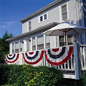 """Patriotic Bunting 2-Sided Pleated Flag 58"""" x 27"""""""