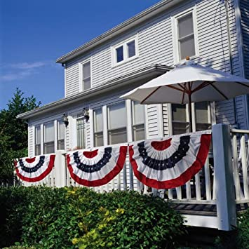 Patriotic Bunting 2-Sided Pleated Flag 58
