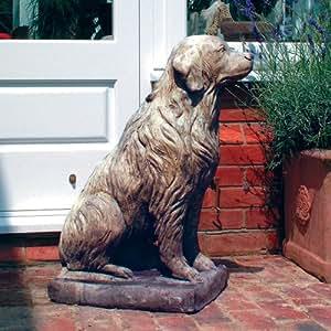 Estatuas de jardín grandes–Golden Retriever de peluche Escultura de piedra