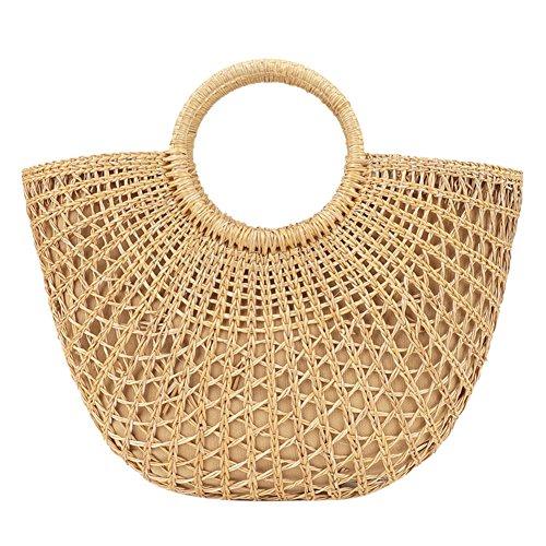 Domybest Paja Bolsa Crossbody Bolsa de Mujer de retro Bolsos de playa de verano para mujer 04