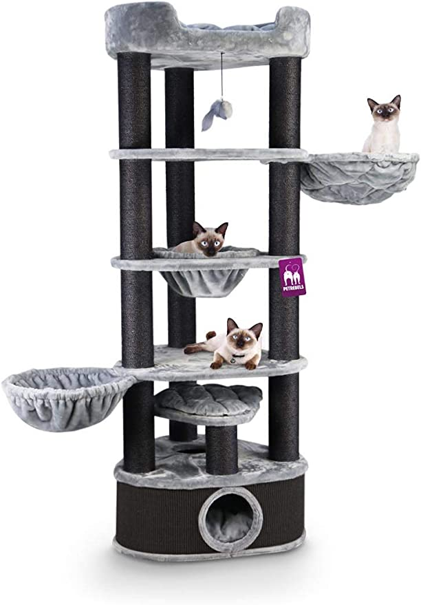 Petrebels - Rascador para gatos grandes, estable, 200 cm, gris, Maine Coon, XXL: Amazon.es: Productos para mascotas
