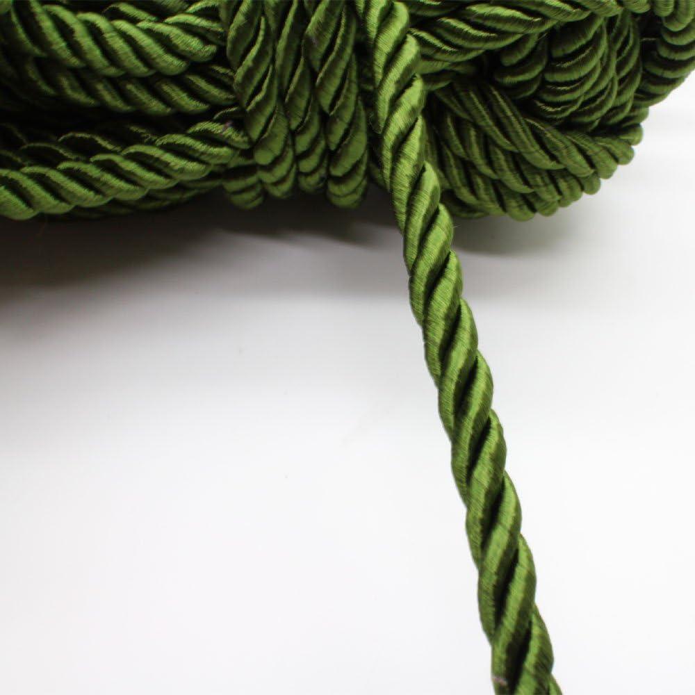 Green Single Strand Twist Braid Satin String Cord Rope 1 Yard /& 24 Inch Piece