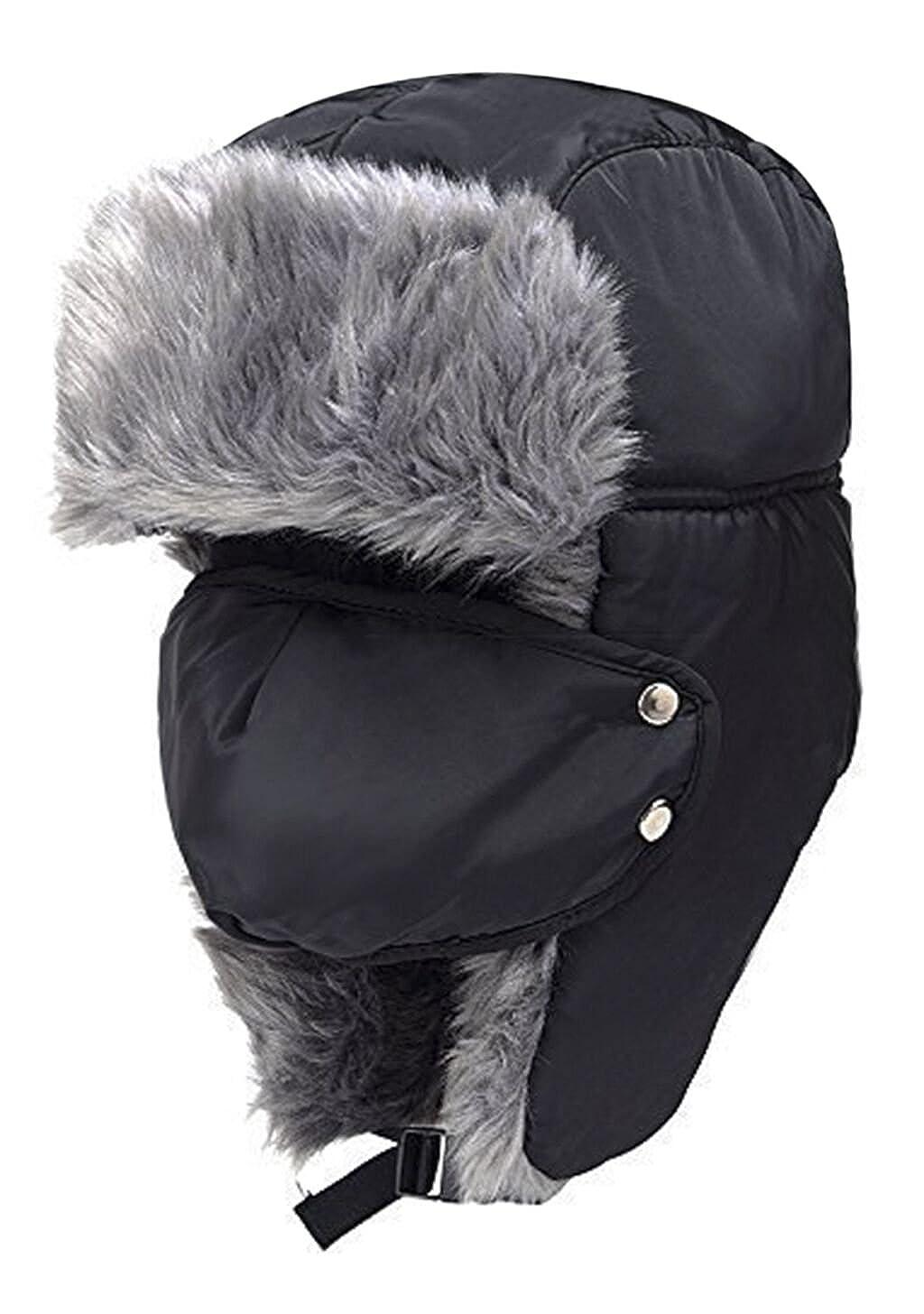 d660d2eda Amazon.com: Unisex Trooper Trapper Hat with Ear Flap Women Men Faux ...