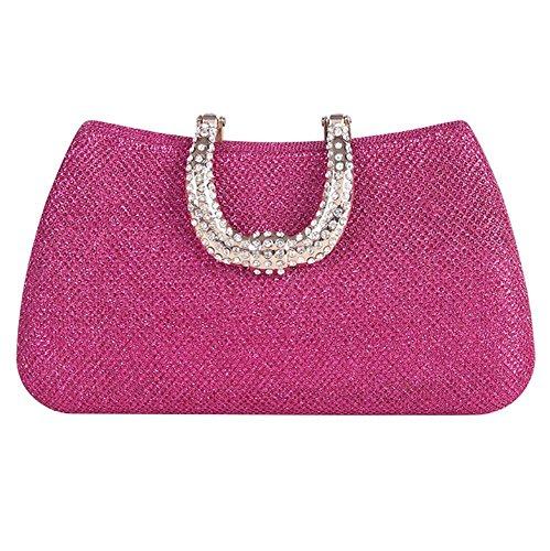 Wgwioo Bag de las mujeres bolsa de noche diamante de imitación boda nupcial paseo cosmético bolso mini embrague. (18 x 10cm) silver one size rose red