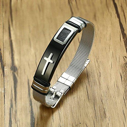 LexBu Men Bracelets Stainless Steel Cross Black 17CM by LexBu (Image #2)