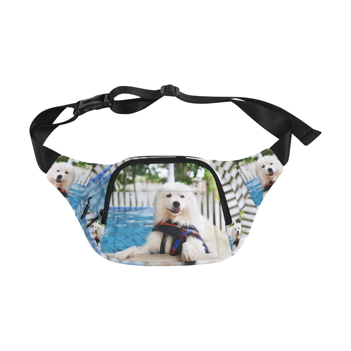 Happy Dog Swimming Dog Smiling Fenny Packs Waist Bags Adjustable Belt Waterproof Nylon Travel Running Sport Vacation Party For Men Women Boys Girls Kids