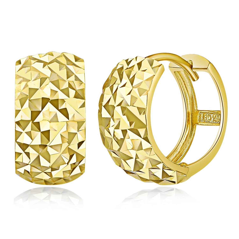 Wellingsale Ladies 14k Yellow Gold Polished 7mm Diamond Cut Faceted Hoop Huggies Earrings (15 x 15 mm)