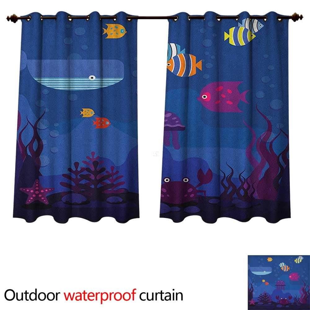 Anshesix Cartoon Outdoor Curtains for Patio Sheer Underwater World Fish in Aquarium and Whale Crabs Jellyfish Bubbles Coral W63 x L63(160cm x 160cm) by Anshesix (Image #1)
