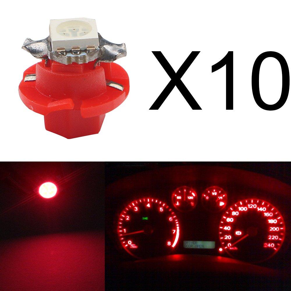 Lot de 10 ampoules DEL Grandview pour voiture T5/B8.4/5050/1SMD pour /éclairage dinstruments indicateurs c/ôt/é tableau de bord 12/V