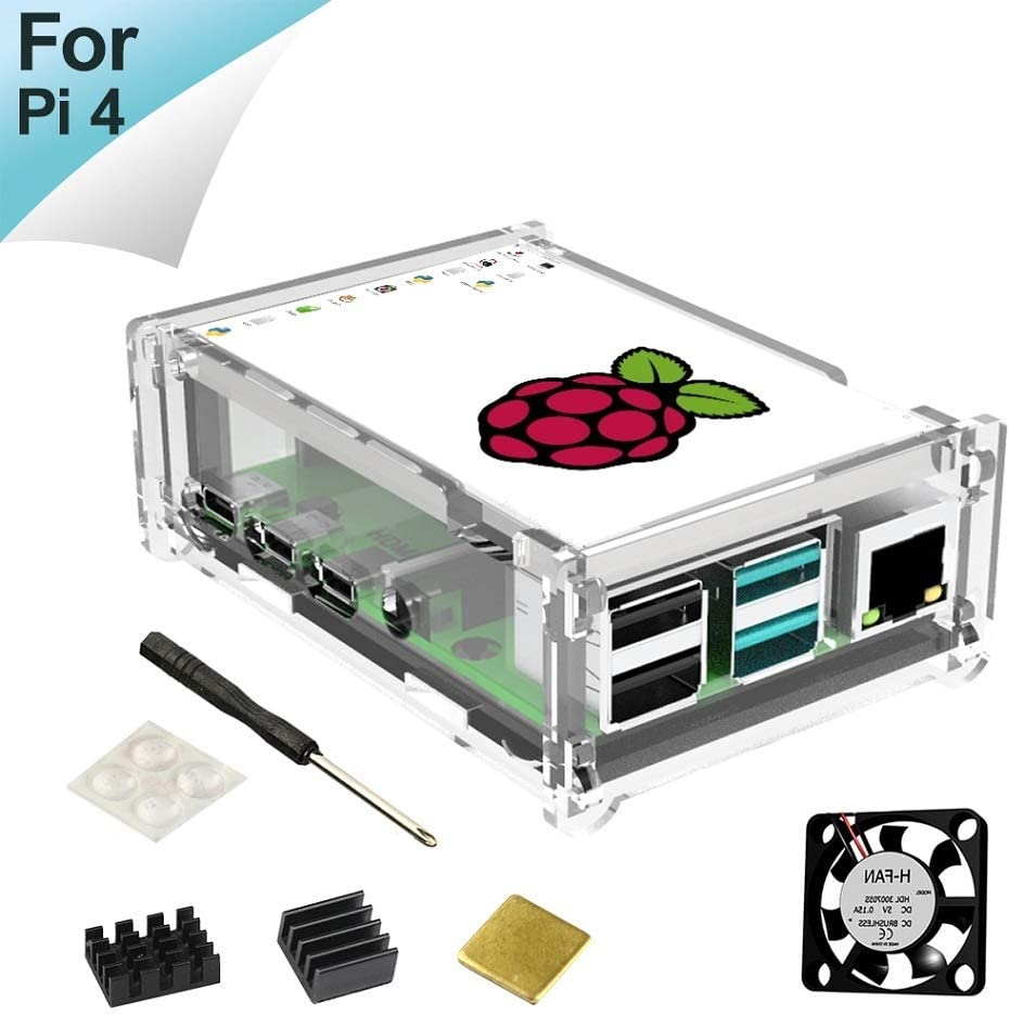 for Raspberry Pi 4 Touch Screen with Built-in Fan, Case and Cooling Heatsink, 320x480 Pixel 3.5 inch TFT LCD Monitor Display (Clear)